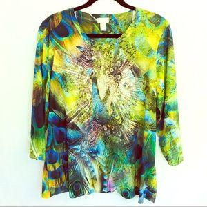 Chico's Medium sz 3 Peacock 3/4 Sleeve Top